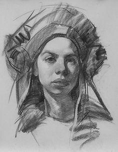 """Courtney in Hungarian Headdress"" by Scott Burdick, charcoal portrait drawing, 2006."