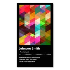 Psychologist - Colorful Mosaic Pattern Business Card. This great business card design is available for customization. All text style, colors, sizes can be modified to fit your needs. Just click the image to learn more!