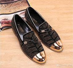 091dd07a82e1 2019 Fashion Casual Formal Shoes For Men Black Genuine Leather Tassel Men  Wedding Shoes Gold Metallic Mens Studded Loafers size  38-46