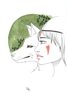Mononoke/// #mononoke #ink #encre #aquarelle #wolf #green #illustration #frenchartist