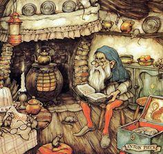 Artwork by Anton Piek Dutch painter, artist and graphic artist. Trolls, Anton Pieck, Walter Crane, Dutch Painters, Dutch Artists, Children's Book Illustration, Fantasy Art, Fairy Tales, Artwork