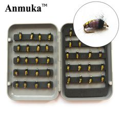 Anmuka A9 dry fly lures 40pcs/lot flies fishing bait 1.5cm worm hook plastic box pesca Fishing Tackle Free shipping 81029