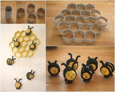 How to DIY Lovely Beehive and Bees Decoration from Toilet Paper Rolls thumb