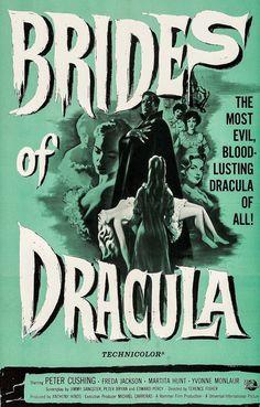 Brides of Dracula (Universal International, 1960). One Sheet Horror.  Starring Peter Cushing, Freda Jackson, Martita Hunt, Yvonne Monlaur, David Peel, Mona Washbourne, Andree Melly, and Stephanie Watts. Directed by Terence Fisher