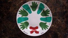 First Christmas handprint/footprint wreath plate
