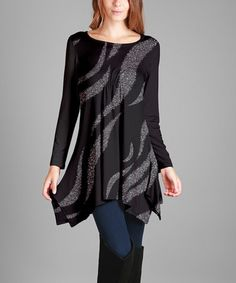 Another great find on #zulily! Black & Silver Glitter Handkerchief Tunic - Plus Too #zulilyfinds