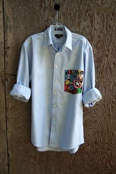 MARVEL Avenger shirt upcycled comic pocket light blue oxford button down boyfriend long sleeve poly cotton mens unisex you pick size