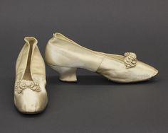 Cream satin wedding slippers, c.1889-1890. FRC1987.04.001A+B