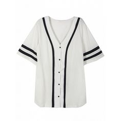 Choies White Button Front Number Print Back Boyfriend Baseball T-Shirt (127005 PYG) ❤ liked on Polyvore featuring tops, t-shirts, shirts, button up, white, white t shirt, baseball tee shirts, print t shirts, white shirt and white button down shirt