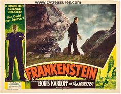 """Horror Movie Poster """"Frankenstein"""" original vintage lobby card 1951 release. Great color graphics and border art! See at www.cvtreasures.com, Conway's Vintage Treasures   $950"""
