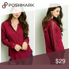 "Wine Top This woven button up blouse features long sleeves with net panel detail along sleeves.  Fabric: 60% Cotton 40% Rayon   Size Small Measurements   Length: 28""  Bust: 38"" Tops Tees - Long Sleeve"