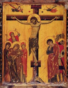 """The crucifixion of Christ ( source ) """"I will not forget you! See, I have engraved you on the palms of my hands. Religious Images, Religious Icons, Religious Art, Cemetery Angels, Paint Icon, Crucifixion Of Jesus, Medieval Paintings, Christian Crafts, Holy Quotes"""