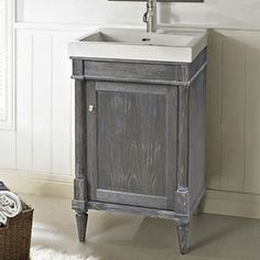 Fairmont Designs Rustic Chic Up to Bathroom Vanity - Silvered Oak 24 Bathroom Vanity, Bathroom Vanity Designs, Vanity Sink, Modern Bathroom, Downstairs Bathroom, Bathroom Ideas, Fairmont Designs, Kitchen And Bath Showroom, Shelf Hardware