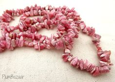 36 inch strand of luscious pink rhodochrosite chip beads by PlumBazaar