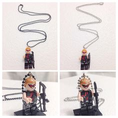 A personal favorite from my Etsy shop https://www.etsy.com/listing/203139719/lego-hawkeye-necklace-the-avengers