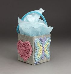 recycled tissue box crafts | Tissues decorate the outside of this treasure box! This mosaic box ...