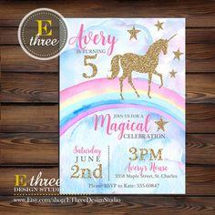Unicorn Birthday Party Invitations Rainbow Pink and Gold