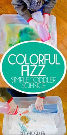 COLORFUL FIZZ: A simple toddler science experiment with baking soda and vinegar; fun science for preschoolers; quick and easy activity Science Experiments For Preschoolers, Indoor Activities For Toddlers, Science Activities For Kids, Cool Science Experiments, Preschool Science, Science For Kids, Science Projects, Science Art, Stem Activities