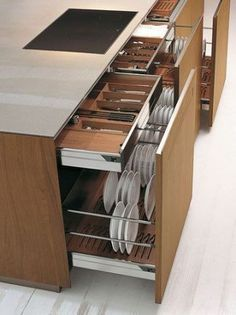 Large storage capacity for these kitchen drawers - Interior - . - Large storage capacity for these kitchen drawers – Interior – one # kitc - Kitchen Room Design, Kitchen Cabinet Design, Home Decor Kitchen, Interior Design Kitchen, Home Kitchens, Kitchen Ideas, Decorating Kitchen, Apartment Kitchen, Luxury Kitchens
