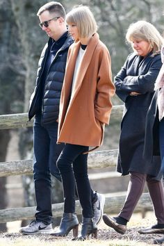 Taylor Swift wearing Ann Taylor Carly Leather Booties