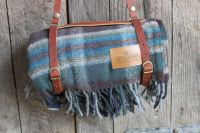 pure virgin wool Pendleton's Motor Robe blanket is the perfect invitation for a summer picnic or a fireside nap. Each blanket comes with a convenient leather carrier with handle and Blue Blanket, Picnic Blanket, Blue Hill Farm, Summer Picnic, Unusual Gifts, Blue Grey, Gray, Messenger Bag, Satchel