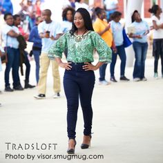 African print ankara blouse on jeans