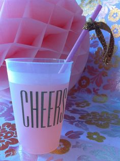 100 printed frosted cups CHEERS by ohgoodiedesigns on Etsy