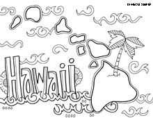 Hawaii State Map Outline Coloring Page Hawaiian Pinterest - Us map hawie state coloring pages