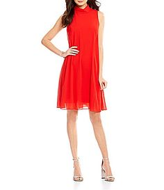 Vince Camuto Mock Neck Sleeveless Chiffon Dress #Dillards