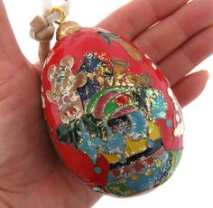 """Cloisonne Enamel Christmas Tree Ornament Stocking and Gifts 2.25x4"""" FOR SALE • CAD 24.83 • See Photos! Money Back Guarantee. Cloisonne enamel Christmas tree ornament in a red background with gifts, stocking, bear, candy cane and trees. It is 2.25x4"""" oval, very good. 361527427517"""