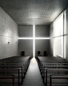 church located in Japan that Bryan showed us last week. Is called 'Church Of Light' and it was designed by Tadao Ando Sacred Architecture, Church Architecture, Religious Architecture, Minimalist Architecture, Japanese Architecture, Light Architecture, Contemporary Architecture, Interior Architecture, Futuristic Architecture