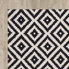 Kelly Black & Cream Geometric Wool Hand-Tufted Area Rug