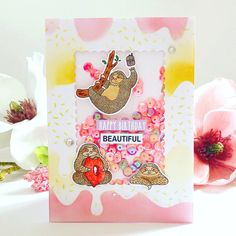 Happy Birthday Beautiful, super cute sloth pals card by Stamp & Colour DT Member Vicki Poulton with our Sloth Pals Stamp & Mini Kit Happy Birthday Beautiful Girl, Color Kit, Colour, Cute Sloth, Happy Birthday Greetings, Shaker Cards, Creative Cards, Cute Cards, I Card