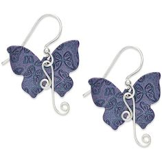 Jody Coyote Patina Bronze Earrings, Purple Butterfly Swirl Earrings ($25) ❤ liked on Polyvore featuring jewelry, earrings, jody coyote jewelry, butterfly jewelry, butterfly earrings, purple earrings and drop earrings