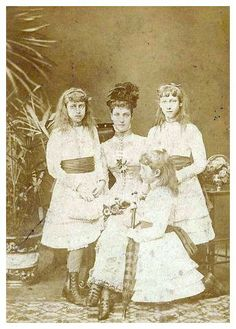 Queen Alexandra and her daughters Victoria, Maud and Louise