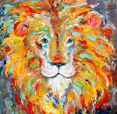 Original oil painting Lion abstract portrait by Karensfineart