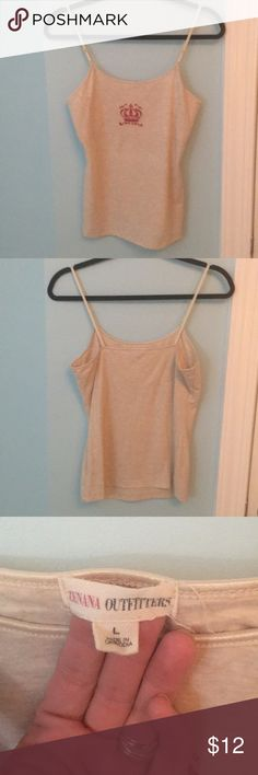 1a4d4ce517 Tank top Tan strappy screen printed tank top with shelf bra Zenana  Outfitters Tops Tank Tops