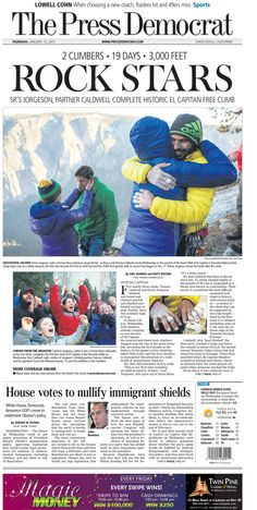 Press Democrat's front page on Thursday, Jan. 15, 2015. Top story features Kevin Jorgeson of #SantaRosa and his climbing partner, Tommy Caldwell, who completed their epic 19-day free climb of #ElCapitan in #Yosemite.