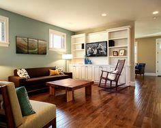 """All of the paints are by Sherwin Williams. The beige wall color is SW7037 Balanced Beige. The accent wall color is SW6213 Halcyon"""""""