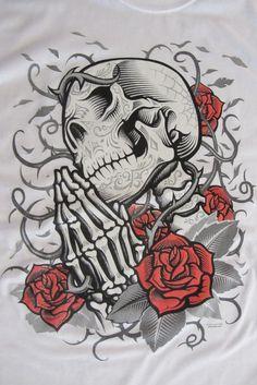 Praying Skull Screen Printed Short Sleve T-Shirt