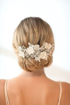 Wedding Lace Headpiece Pearl Beaded Lace Vine by PowderBlueBijoux
