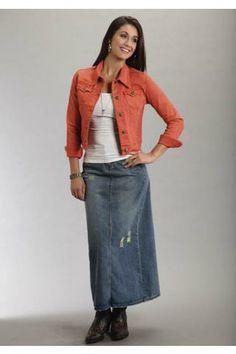 Touch of Zebra Long Denim Skirt | Style J denimskirts.com | Denim ...