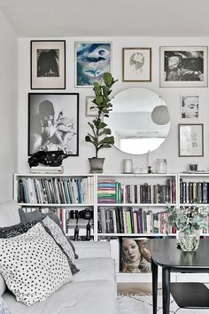Livingroom Sofa White Galery Wall Picture Eclectic Mirror Round Plants Ikea Billy Bookcase White