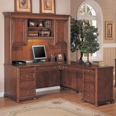 Have to have it. Wynwood Camden L-Shaped Desk with Hutch Ginger Cherry $