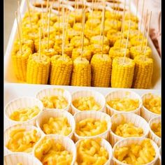 Corn on cob and Mac and cheese shooters