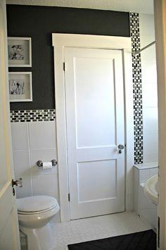 Benjamin Moore Kendall Charcoal Gray, white and gray bathroom Kendall Charcoal, Charcoal Gray, Black Bath, Jack And Jill, Grey Bathrooms, Moldings, Benjamin Moore, Cozy House, Basement