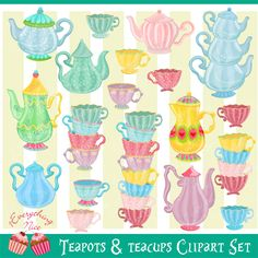 http://www.mygrafico.com/cliparts/teapots-and-teacups-clipart-set/prod_11667.html#sthash.GkshuXut.dpuf Teapots and Teacups Clipart Set  Adorn your art projects with this Teapots and Teacups Clipart Set. These whimsical Teapots and Teacups are perfect for art projects, making cards, paper crafts, scrapbooking, invitations, web design, printables and much more!
