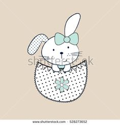 adorable bunny girl in the pocket, Happy Easter pattern, T-shirt graphics for kids vector illustration