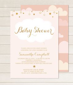 pink gold baby shower invitation printable stars gold glitter shower gender neutral digital invite customizable digital twinkle blush    DIY Printable Baby Shower Invitation    This listing includes 1 personalized printable invitation. You will not receive anything in the mail, this is for a DIGITAL file only. Send me your information, I customize, you print. Follow the simple instructions below to place an order.      -INVITATION DETAILS-    Size: 5 x 7  3 format options: -5 x7 JPG 300 dpi…