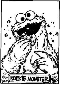 gratis kleurplaten: Koekiemonster uit Sesamstraat